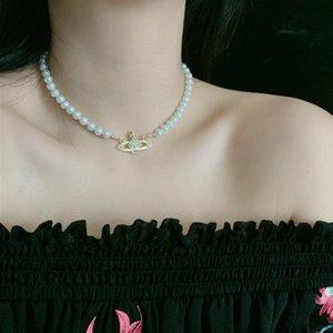 Vente chaude strass Pendentif Collier Lady perle chaîne Collier bijoux de haute qualité Accessoires Parti cadeau Livraison rapide