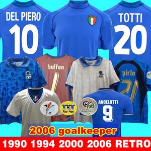 İtalya Retro JERSEY 2000 2006 Kaleci Dünya cup1990 2000 İTALYA Retro ANA 1994 FUTBOL JERSEY Maldini Baggio Donadoni Totti Del Piero