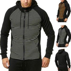 New Hoodies Männer 2019 Marke Männer Langarm-Kapuzenshirt Stripe Splicing Sweatshirt Menshoodies-dünne Anzug Männer Y