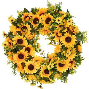 Искусственный подсолнечника Летний Возложение 16 дюймов Декоративный Поддельный цветок Венок Желтые подсолнечника и зеленые листья для передней двери I