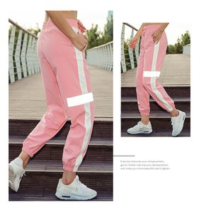 2020 novos soltos grande tamanho de fitness yoga calças femininas de secagem rápida respirável reflexivas tiras de moda pés Largura calças esportivas