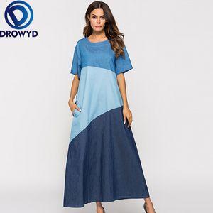 Snordic Синий Сыпучие Maxi платье Queen Casual Женщины Fashion Girl Boho-линии с коротким рукавом O-образным вырезом Длинные платья 2019 Vestidos DROWYD