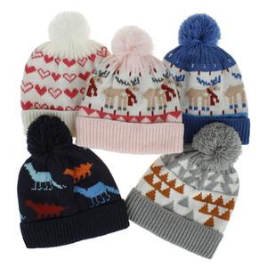 Noël hiver d'enfants Chapeau bébé Pompom chapeaux enfant tricot crochet casquettes de chaud garçons enfants Cap filles M2167 Bonnets