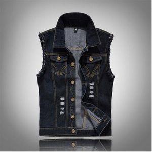 Nouveau Mode Hommes Denim Vest Vintage Design Mâle Slim Fit Sans Manches Vestes Hommes Hole Jeans Marque Gilet Noir