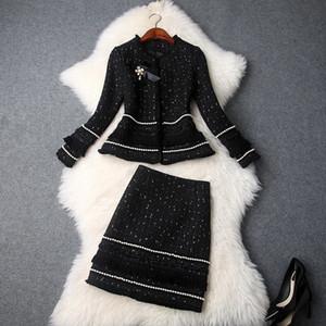 Mode Automne Femmes New perles d'hiver Bow Veste en tweed épais Glands Mini-jupe Suits Bureau Lady ensembles deux pièces