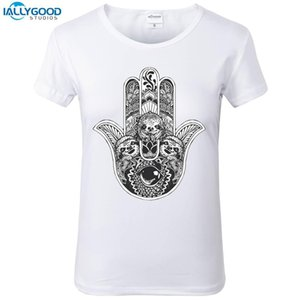 Women's Tee Summer Funny Hamsa Hand Sloth T-shirt Women Palm Printed T Shirts O - Neck Soft Short Sleeve Casual White Tops S1738