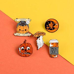 Happy Halloween Enamel Pin Custom Coffee Moon Ghost Pumpkin Umbrella Brooches Backpack Clothes Lapel Pin Fun Badge Jewelry Gift