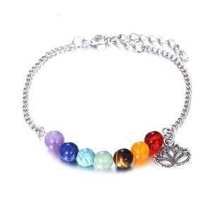 New 7 Chakras Lotus Flower Bracelets Charms pour les femmes Crystal Healing Équilibre Perles Nature Bracelets de pierre Yoga à la main Bijoux