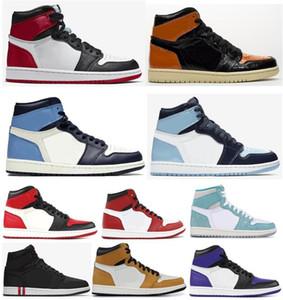 Arkalık Shattered Yüksek OG 1s Saten Siyah Toe 3,0 Obsidian Basketbol ayakkabı erkekler Kadınlar 1 UNC Patent Paris Siyah Sneakers ile Kutusu