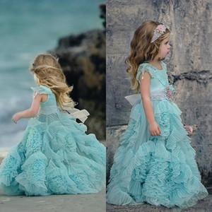2020 Mint Green Flower Girl Robe de cérémonie pour les mariages Ruffle enfants Pageant Robes fleurs parole longueur dentelle robe de soirée Communion