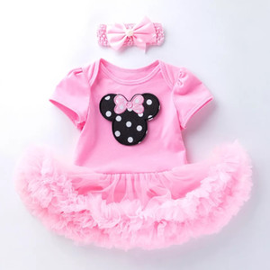 summer Baby one-piece dress girl short sleeve clothes Cotton Mesh Crawling Clothes Dress cartoon pattern pink kid infant jumpsuits two-piece