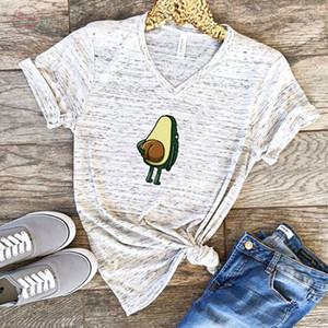 Women Fashion Short T Shirts 2019 Polyester Funny Print Avocado Frog Tees Short Sleeve Tshirts Girls Gift Tops 90S 00S Clothing