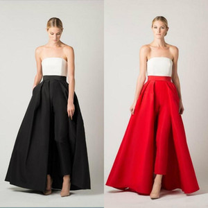 2020 Jumpsuit Evening Dresses Sexy Strapless A Line Overskirt Prom Dress Formal Bridal Guest Party Wear