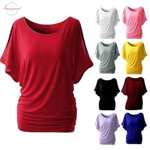 5Xl ocasional de las mujeres camiseta del verano alas de murciélago de manga corta floja superior básica del tamaño básico de la túnica Camisas Mujer Mujer Plus