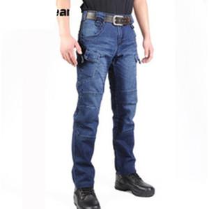 Yeni Swat Askeri Stil Kargo Jeans Erkekler Rasgele Motosiklet Denim Biker Jeans Stretch Çoklu Taktik Savaş Ordu Jean Cepler