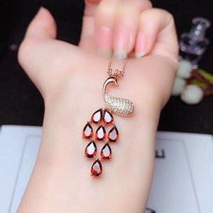 Altro Squisita forma di pavone granato rosso granato / viola collana di ametista per le donne gioielli 925 sterling argento naturale gemma economico