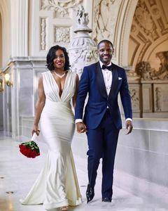 Сексуальный дизайн русалка плюс размер свадебное платье без спинки глубокие V шеи плиты длиной до пола длинные свадебные платья пользовательских плюс размер