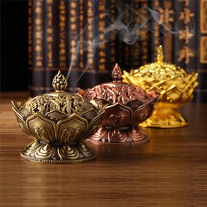 En alliage de zinc brûleur d'encens chinois Bouddha titulaire de l'encens Lotus fleur bois de santal encensoir pour Home Office Teahouse utiliser Home Decor DLH207