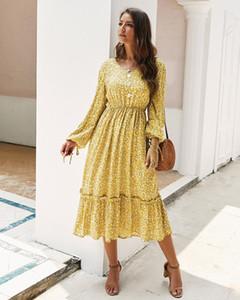 Casual Printemps Vêtements et été Robes Femmes Femmes nouveau 2020 printemps et en été à manches longues robe élégante de la mode jaune, juj