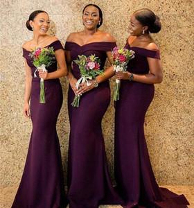 2019 sirena sudafricana vestido de dama de honor barato fuera del hombro satén acanalada banquete de boda formal Invitada Maid of Honor Vestidos