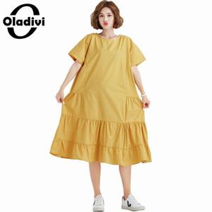 Oladivi Brand Plus Size Summer 2019 New Women Casual Dress Ladies Short Sleeve Loose Midi Dresses Female Vestidos Feminionos 6XL