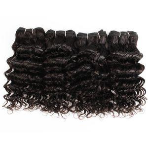 4 PCS Indien profonde cheveux bouclés armure 50g / PC Couleur naturelle Noir Pas cher Human Hair Weave Extensions pour style Bob Short