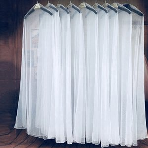 Long 180cm White Transparent Breathable Tulle Dust Cover for Garment Wedding Dress Evening Clothes Protect Case