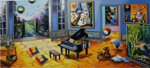 Alexander Astahov - BLACK PIANO Home Decor Handpainted &HD Print Oil painting On Canvas Wall Art Canvas Pictures 191206