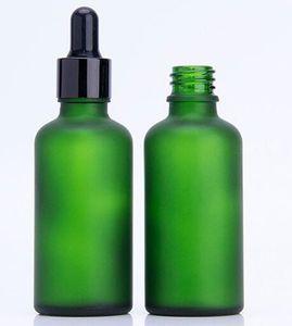 Frasco gotero gotero botella 50 ml verde aceite esencial e líquido e jugo botella de vidrio mate verde impresión logotipo paquete personalizado caja