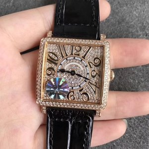 32.7mm GF DIAMONDS MASTER ЖЕНСКИЕ LADY WATCH WRISTWATCH GENUINE LEATHER STRAP SQUARE QUARTZ 6002 ЧАСЫ SAPPHIRE CRYSTAL LOVER ПОДАРОК ​​РОЖДЕНИЯ