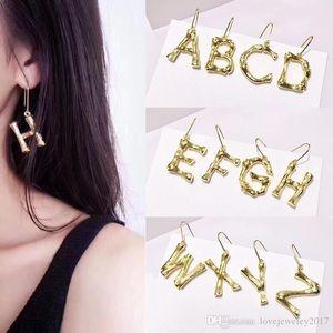 New style Brass bamboo Letters charm Earriings for women Street style Copper Gold Snake skeleton studs earrings fashion Jewelry