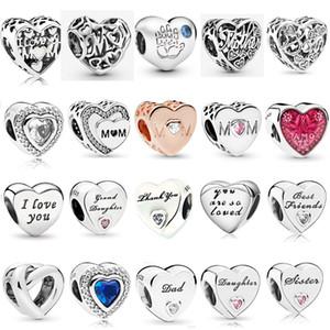 925 en argent Sterling Multi Style fête des mères Charmes fille perles d'amour Fit Pandora Original Charme Bracelets Bijoux Cadeau