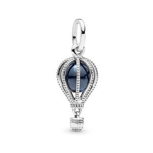 100% 925 Sterling Silber Blau Heißluftballon Anhänger Charm Bead Passend für Europäische Pandora Schmuck Charm Armbänder