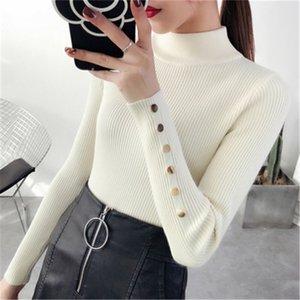 Mulheres Roupa Turtleneck Botões manga comprida de malha Shirts Feminino Sólidos Causal Work Office Lady finas blusas de malha Tops