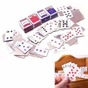 1 Set 1:12 Miniature Dollhouse Cute Mini Poker Playing Cards Style Random Mini Cute Poker Doll Accessories Running Wear Athletic & Outdoor A