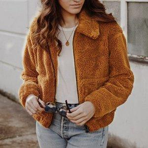 19Womens Winter Coat Fur Jacket Winter Warm Jacket Fashion Female New Zipper Lapel Loose Fur Jackets Women Overcoat Outerwear Asian Size