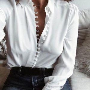 Mulheres tops e blusas manga comprida Lady Cardigan com o botão Moda Mulher Blusas 2019 New lapela camisa Turn Down Collar Blusa