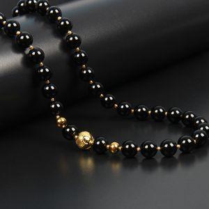 Простой камень ювелирные изделия 8 мм черный оникс Синий Камень мужчины ожерелья из нержавеющей стали серебряные бусины колье уникальный бисером Ожерелье для мужчин подарок