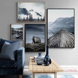 Foggy Mountain Lake Boat cenário da natureza nórdicos Pôsteres Tela Pintura Wall Art Prints Fotos Paisagem Para Living Room Decor