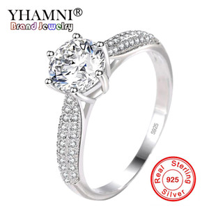 YHAMNI 100% 925 Sterling Silver Ring Clear Six Claw Cubic Zirconia Fashion Wedding Engagement Classic Jewelry For Women YJZ351