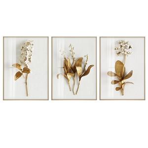 Goldene Pflanze Blätter und Blumen-Wand-Kunst Leinwand-Malerei Wandbilder für Wohnzimmer Nordic Dekoration Bilder Morden Dekor