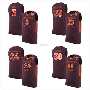 Virginia Tech Hokies College 3 Wabissa Bede 23 Tyrece Radford 24 Kerry Blackshear Jr. 30 Dell Curry Баскетбольные Майки Мужские На Заказ Любое Имя