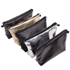 Fashion cosmetic bag PU material washing bag clutch pouch for women solid color cheap wholesale
