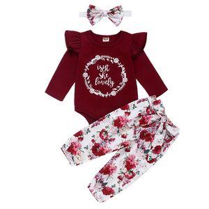 Baby Printed Outfits Säuglings-Baby-Karikatur Brief stellt Kind Lässige Kleidung Mädchen Kleine Blumen beiläufige Hosen mit Stirnband-Hut 06