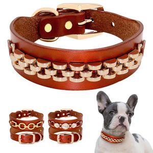 Fashion Leather Dog Collar French Bulldog Rhinestone Pet Collar Perro for Small Medium Dogs Metal Accessories Pet Collars