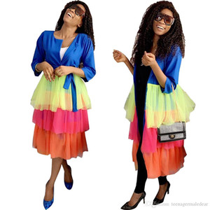 Дизайнер Женщины куртка цвета конфеты Mesh торт юбка Щитовые осень Сладкий длинными рукавами Crew Neck Длинные куртки Женская мода куртки