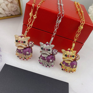 Women Designer Necklaces Lion Necklace Luxury 18K Gold Lady Fashion Style Fine Jewelry High Quality 3 Colors