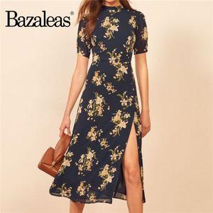 Bazaleas Jahrgang Split Frauen kleiden elegante kurze Hülsen-Marine-Blumendruck-Frauen midi Kleid