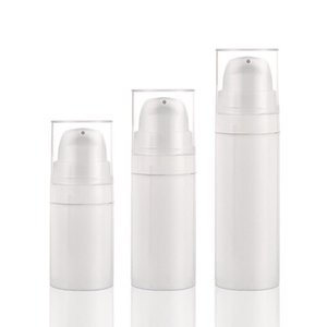 Luxury Cylinder white PP plastic snap on spray airless bottle 5ml 10ml 15ml, plastic bottle airless pump for cosmetic lotion packaging