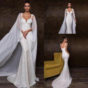 Robes de mariée élégantes paillettes scintillantes sirène avec châles Sexy perlée dos ouvert balayage plage plage robe de mariée bohème BC2235